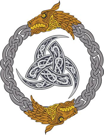 Goldene Drachen in Silber Kranz mit Triple Horn von Odin verziert mit Nordistik Ornamenten, Vektor-Illustration