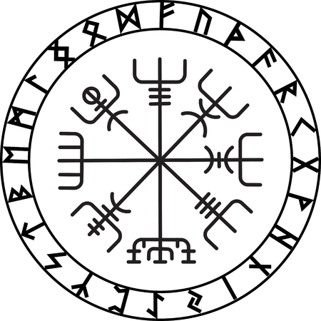 paganism: Vegvisir, the Magic Navigation Compass of ancient Icelandic Vikings with scandinavian runes, isolated on white, vector illustration