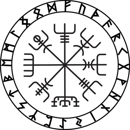 Vegvisir, el Magic compás de la navegación de los antiguos vikingos islandeses con runas escandinavas, aislado en blanco, ilustración vectorial