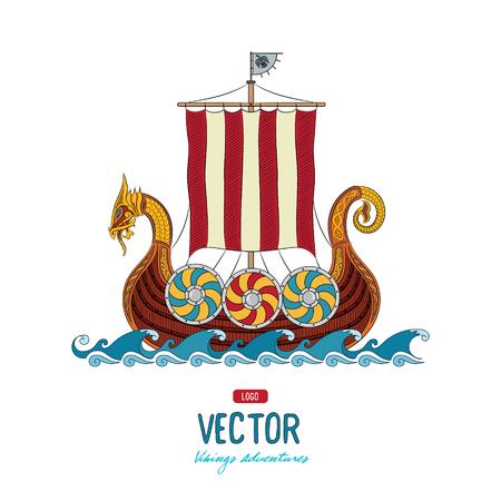 バイキングのドラッカー。嵐の海、ベクトル図では、白で隔離にドラッカー船 写真素材 - 67828643