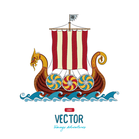 Viking Drakkar. Drakkar ship sailing on the stormy sea, vector illustration, isolated on white