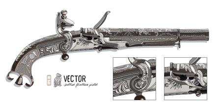 flintlock pistol: Flintlock pistol. Scottish flintlock pistol with the scroll or rams horn butt, vector illustration, contain clipping mask, eps-10 Illustration