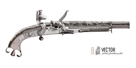 flint: Flintlock pistol. Scottish flintlock pistol with the scroll or rams horn butt, isolated on white, vector illustration, eps-10