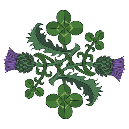 Thistle and Clover. The symbols of Ireland and Scotland vector illustration