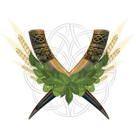 Drinking Horn. Two crossed drinking horns, entwined with hops and wheat, isolated on white, vector illustration Vector Illustration
