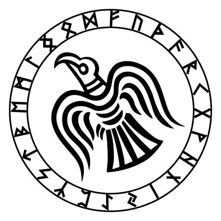 El círculo rúnico. Futark. Inscrito en el círculo runa, ilustración vectorial del cuervo de Odin