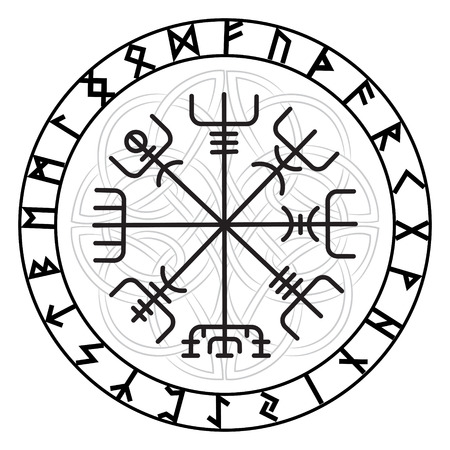 Vegvisir, the Magic Navigation Compass of ancient Icelandic Vikings with scandinavian runes, isolated on white, vector illustration