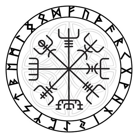 Vegvisir, el Magic compás de la navegación de los antiguos vikingos islandeses con runas escandinavas, aislado en blanco, ilustración vectorial Ilustración de vector