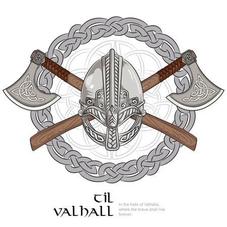 Viking helmet, crossed viking axes and in a wreath of Scandinavian pattern, vector illustration 일러스트