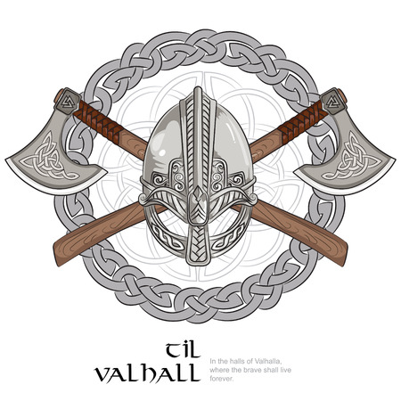 Viking helmet, crossed viking axes and in a wreath of Scandinavian pattern, vector illustration Stock Illustratie