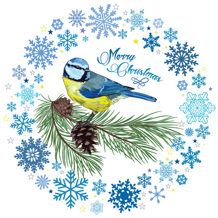 chickadee: Christmas card. Titmouse sitting on pine branch with cones and the circle of snowflakes, isolated on white, vector illustration