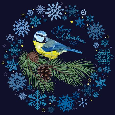 chickadee: Christmas card. Titmouse sitting on pine branch with cones and the circle of snowflakes, vector illustration Illustration