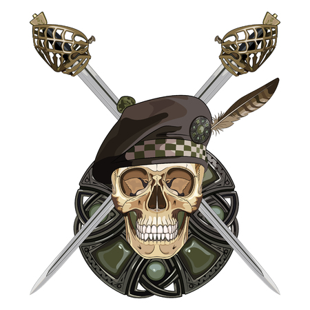 keen: Two crossed Scottish Highland backsword and the skull in the Scottish balmoral bonnet, isolated on white, vector illustration