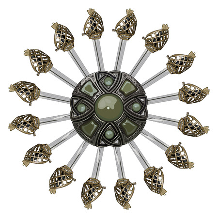 The design of the Scottish medieval brooches and Scottish Highland backsword, isolated on white, vector illustrastion