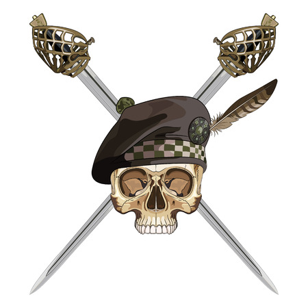 Two crossed Scottish Highland backsword and the skull in the Scottish balmoral bonnet, isolated on white, vector illustration