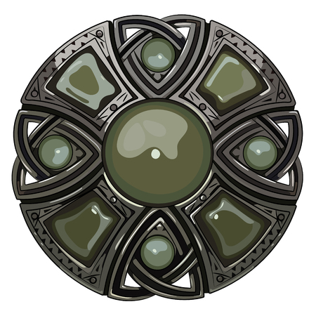 onyx: Scottish brooch. The legacy of the Scottish knights. Decorated with green agate, isolated on white, vector illustration Illustration