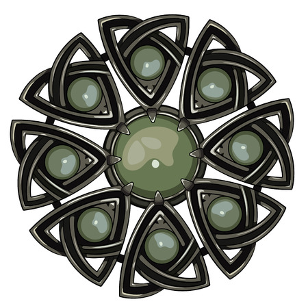 Scottish brooch. The legacy of the Scottish knights. Decorated with green agate, isolated on white, vector illustration Illustration