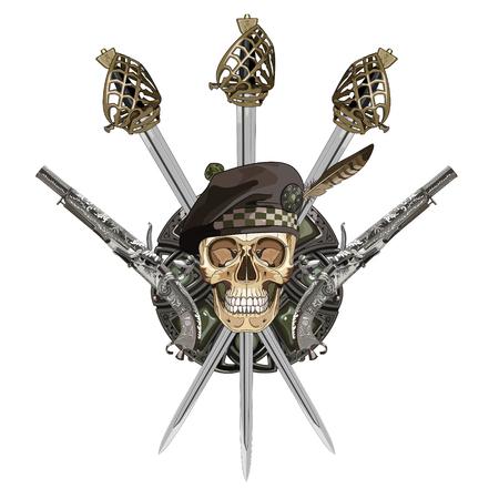 highlander: Scottish Highland backsword, two Scottish flintlock pistol and skull in the Scottish balmoral bonnet, isolated on white, vector illustration Vectores