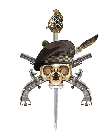 slashing: Scottish Highland backsword, two Scottish flintlock pistol and skull in the Scottish balmoral bonnet, isolated on white, vector illustration Illustration