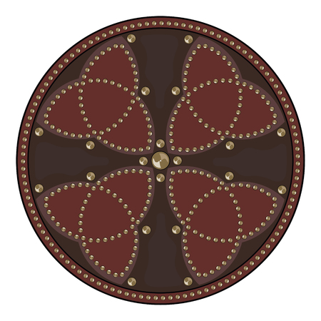 Scottish battle shield decorated with studs in the Celtic style, isolated on white, vector illustration