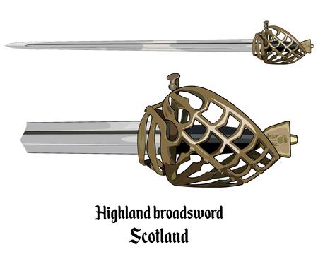 Scottish Highland backsword a hilt stone baskets, isolated on white, vector illustratoion