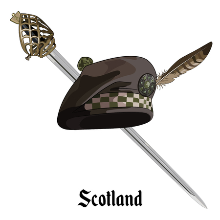 slashing: Scottish balmoral bonnet and Scottish Highland backsword, isolated on white, vector illustratoion