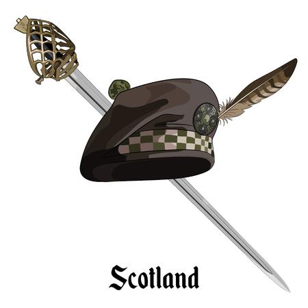 highlander: Scottish balmoral capó y escocés Highland backsword, aislado en blanco, illustratoion vectorial Vectores