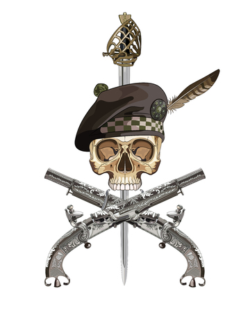 flintlock: Two Scottish flintlock pistol and skull in the Scottish balmoral bonnet, isolated on white, vector illustration