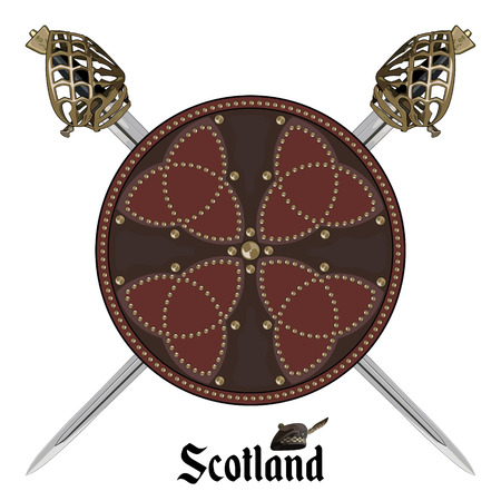 Two crossed Scottish Highland backsword and Scottish battle shield decorated with studs in the Celtic style, isolated on white, vector illustration Vectores