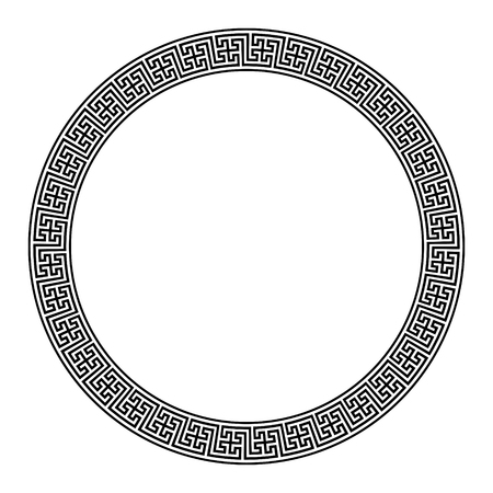 Round meander frames, ancient European pattern, isolated on white, vector illustration Illustration