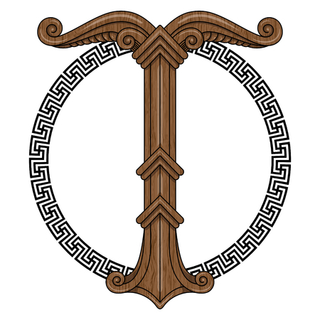 odin: Irminsul, Yggdrasil. Sacred tree or the tree trunk Saxons, dedicated to the God Irmin, the main object of veneration to the Northern Germanic, isolated on white, vector illustration, eps-10