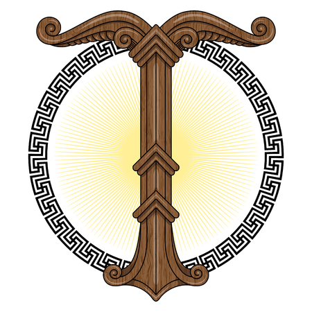 tyr: Irminsul, Yggdrasil. Sacred tree or the tree trunk Saxons, dedicated to the God Irmin, the main object of veneration to the Northern Germanic, isolated on white, vector illustration, eps-10