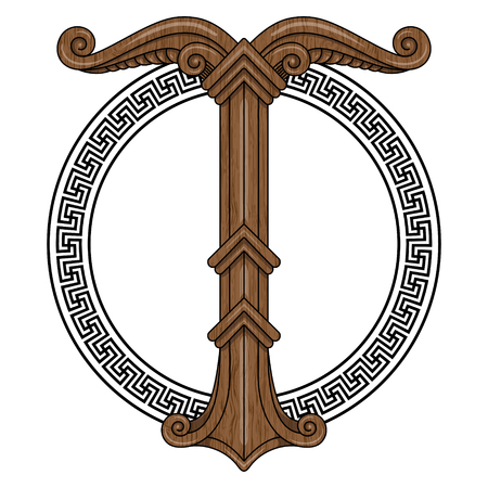 Irminsul, Yggdrasil. Sacred tree or the tree trunk Saxons, dedicated to the God Irmin, the main object of veneration to the Northern Germanic, isolated on white, vector illustration, eps-10