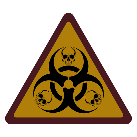 Design with bio-hazard symbol printed, isolated on white, vector illustration