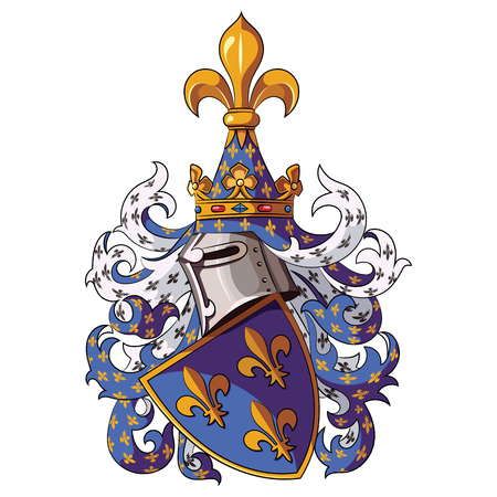 Knightly coat of arms. Medieval knight heraldry, vector illustration, isolatyed on white Illustration
