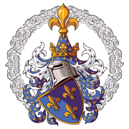 Knightly coat of arms. Medieval knight heraldry and Medieval knight ornament, vector illustration, isolatyed on white