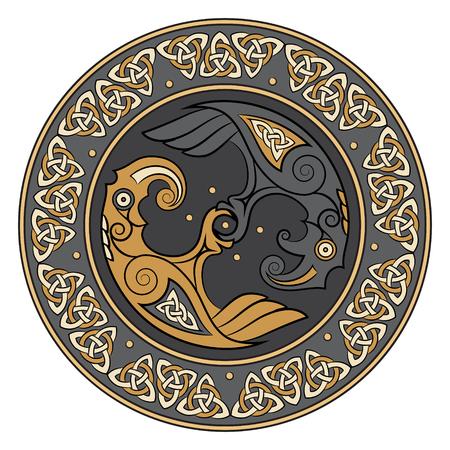 Wikinger Schild, verziert mit einem skandinavischen Muster und Raben von Gott Odin. Huginn und Muninn, isoliert auf weiß, Vektor-Illustration Standard-Bild - 75336854
