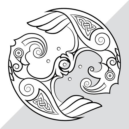 스 칸디 나 비아 스타일의 신 오딘의 두 마리의 까마귀. Huginn 및 Muninn, 흰색, 벡터 일러스트 레이 션에서 절연