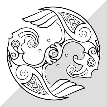 Two Ravens Of The God Odin In Scandinavian Style. Huginn and Muninn, isolated on white, vector illustration