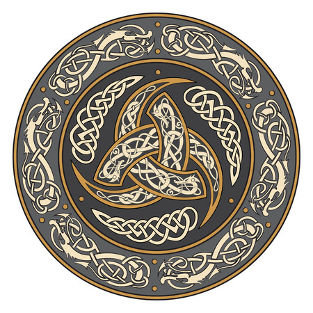 Triple Horn of Odin decorated with Scandinavic ornaments, vector illustration
