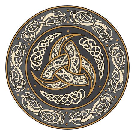 Driehoekige Hoorn van Odin versierd met Scandinavische ornamenten, vectorillustratie