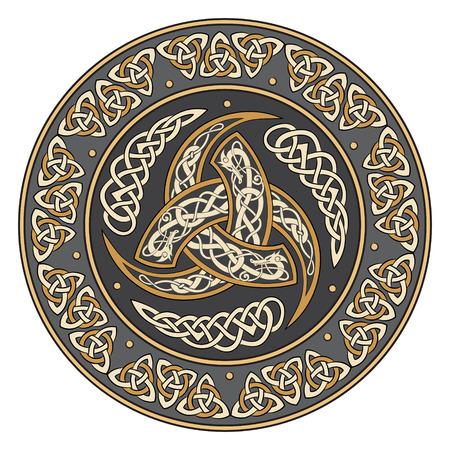 Triple-Horn von Odin verziert mit Nordistik Ornamenten, Vektor-Illustration