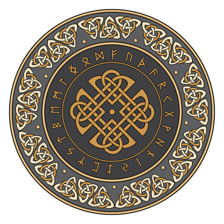Celtic shield, decorated with a ancient European pattern, isolated on white and scandinavian runes, vector illustration Vettoriali