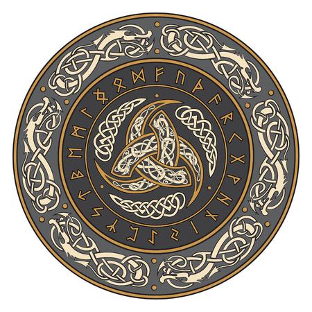 Driehoekige Hoorn van Odin versierd met Scandinavische ornamenten en runen, vectorillustratie