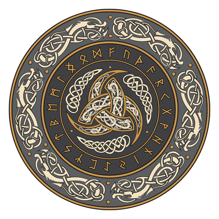 Scandinavic 飾りとルーン、ベクトル イラスト飾られたオーディンのトリプル ホルン