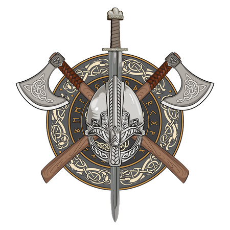 Viking helmet, crossed viking axes and in a wreath of Scandinavian pattern and viking shield, vector illustration