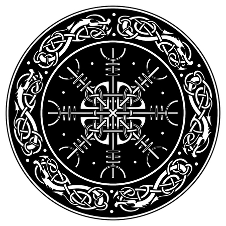 Viking shield decorated with a Scandinavian pattern of dragons and Aegishjalmur, Helm of awe (helm of terror) Icelandic magical staves isolated on white,