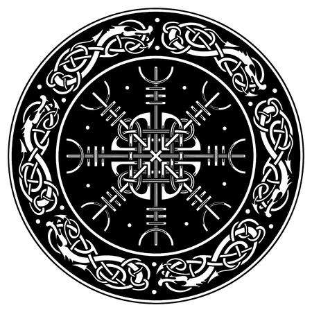 Vikingschild versierd met een Scandinavisch patroon van draken en Aegishjalmur, roer van ontzag (roer van terreur) IJslandse magische staven geïsoleerd op wit, Stock Illustratie