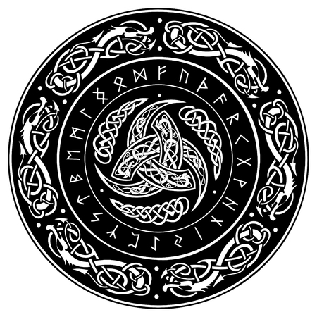 스칸디나비아 장식품과 룬 문자로 장식 된 오딘의 트리플 호른 (Triple Horn of Odin)
