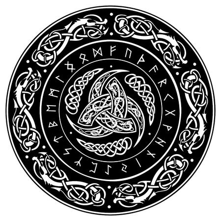 Triple Cuerno de Odín decorado con adornos escandinavos y runas,